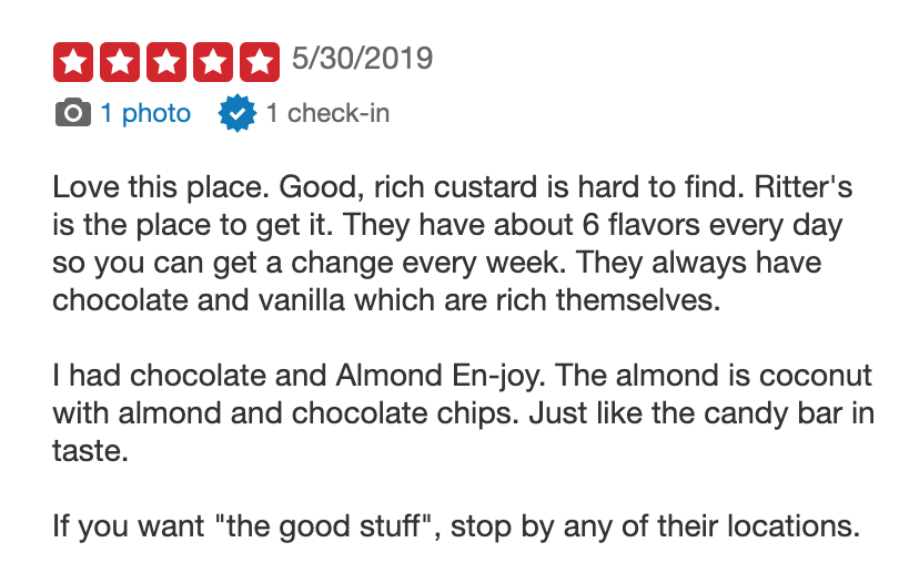 ritters-ice-cream franchise reviews